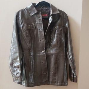 Brown pleather jacket coat large